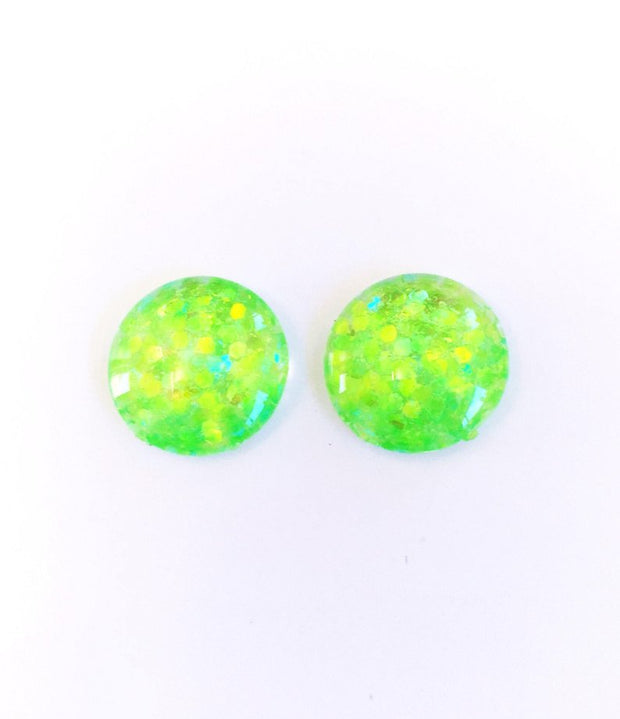The 'Lime Shine' Glitter Glass Earring Studs