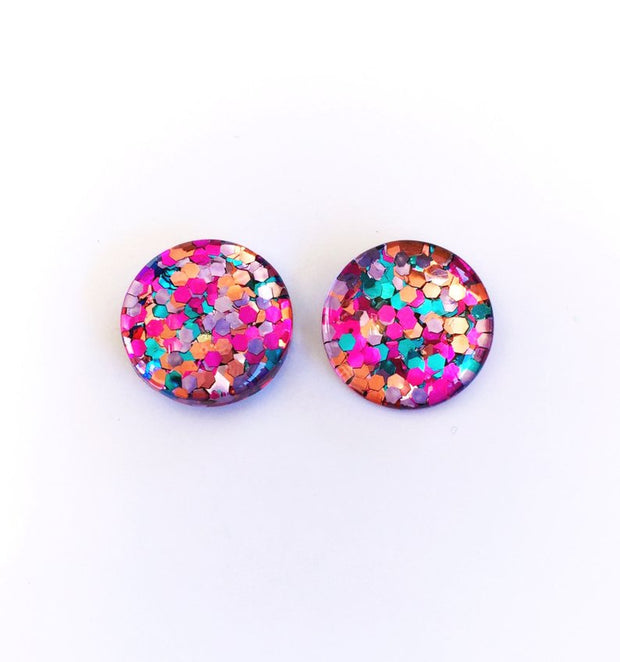 The 'Mixed Berry' Glitter Glass Earring Studs
