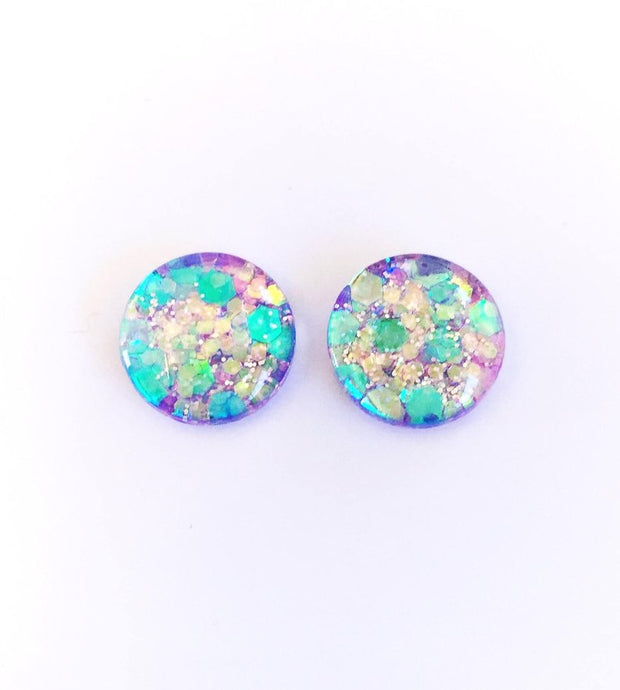 The 'Moondust' Glitter Glass Earring Studs