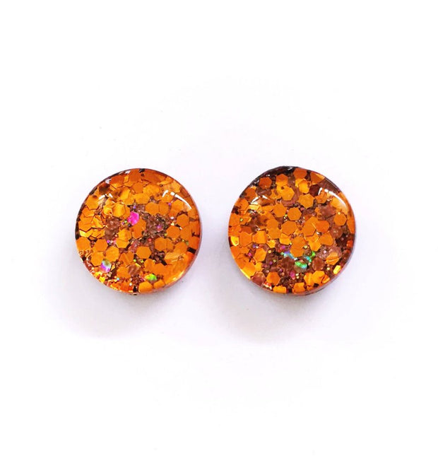 The 'Rustic' Glitter Glass Earring Studs