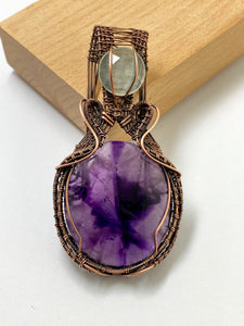 Amethyst & Aquamarine Wire Work Pendant Necklace