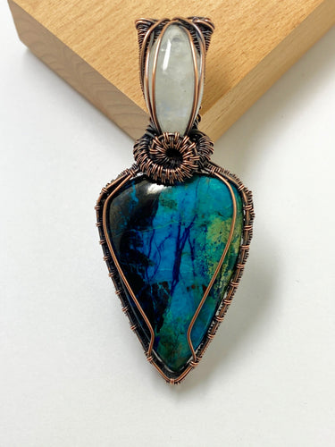 Chrysocolla & Moonstone Wire Work Pendant Necklace