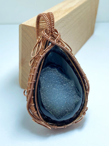 Black Onyx Druzy Wire Wrap Pendant Necklace