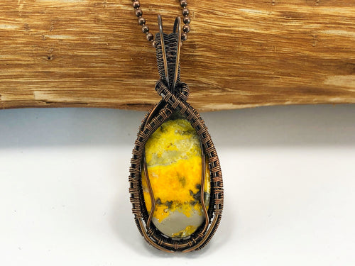 Bumblebee Jasper Wire Work Pendant Necklace