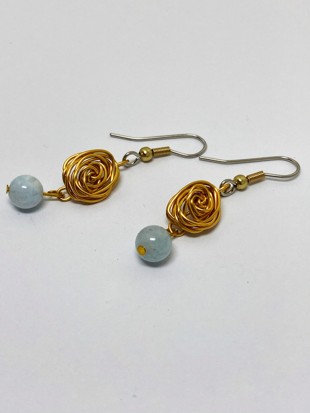 Aquamarine Rose Drop Earrings