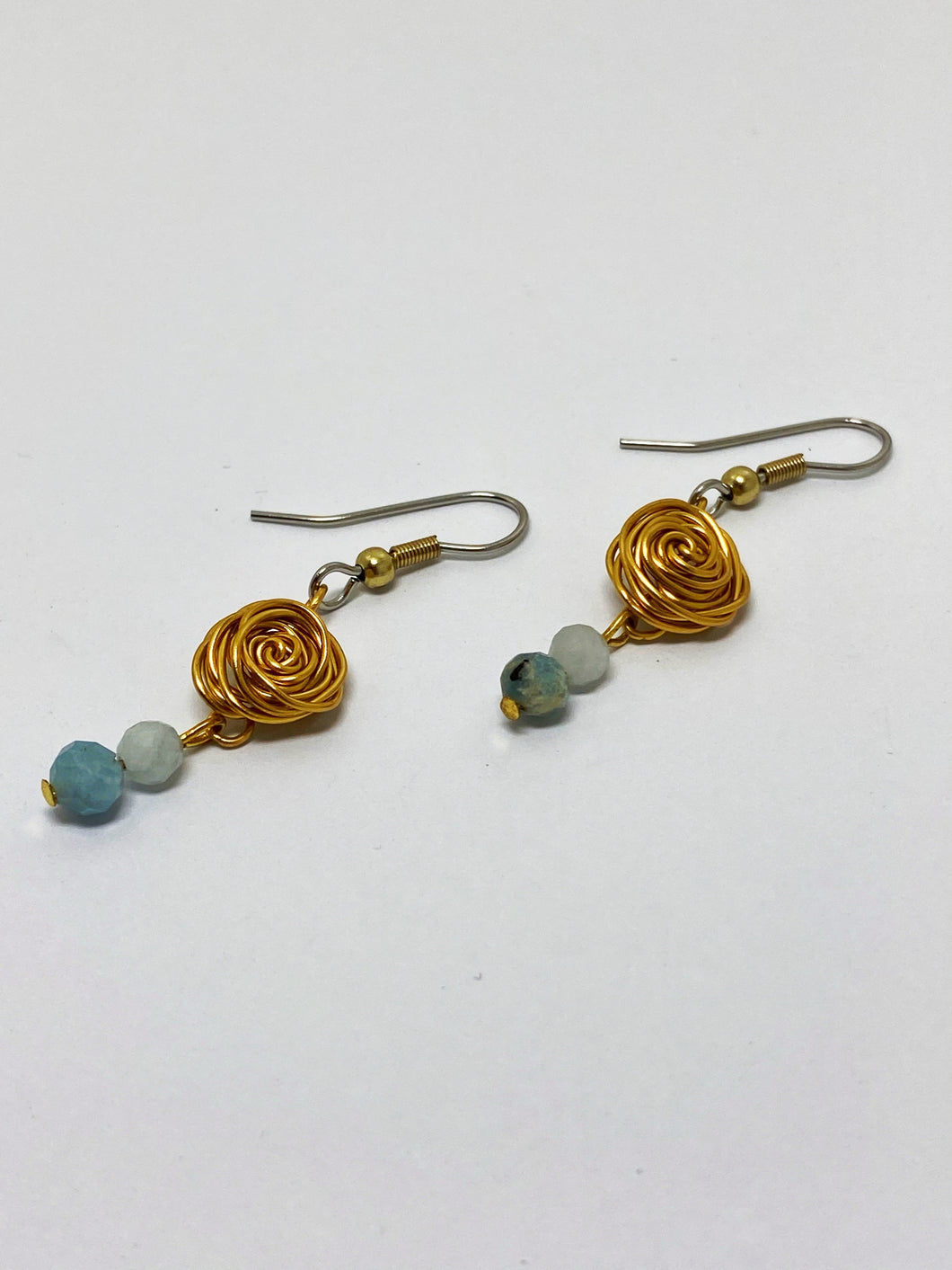 Faceted Aquamarine Rose Drop Earrings