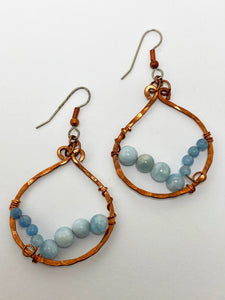 Aquamarine Copper Hoop Earrings