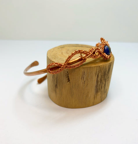 Lapis Lazuli Wire Wrapped Adjustable Bangle
