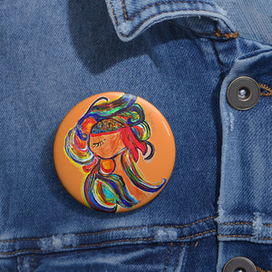 Thoughts Handpainted  Pin Button