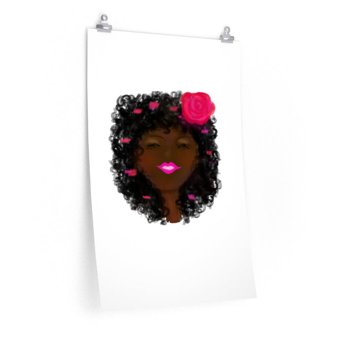 Afro with Rose Premium Matte vertical poster
