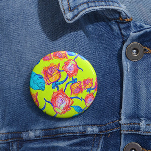 Roses in Yellow Pin Button