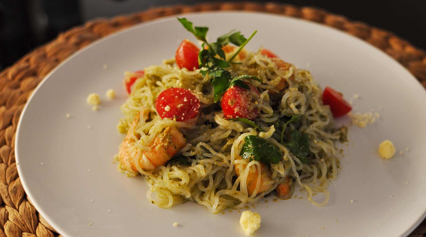 shrimp pesto pasta low carb noodles