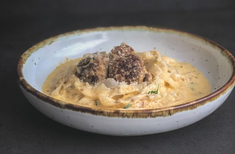Low Carb Creamy Fettuccine With Meatballs