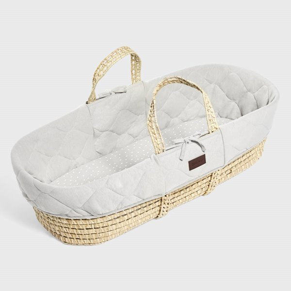 Natural quilted Moses Basket and mattress Set