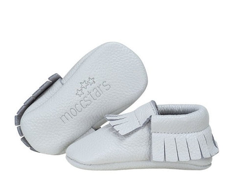 Moccstar - Leather Tassel Crib Shoe - Milk Bottle