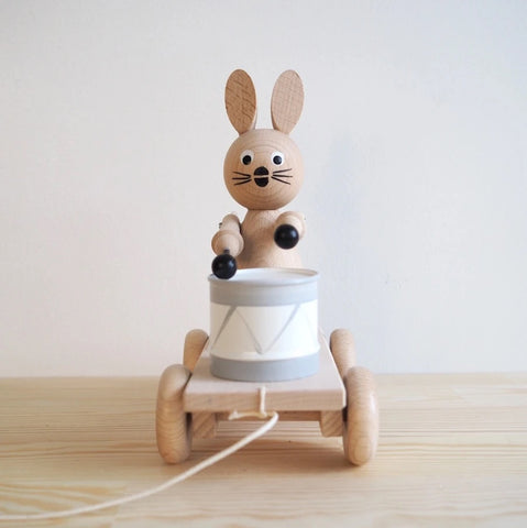Alice - Pull Along Wooden Bunny With Drum