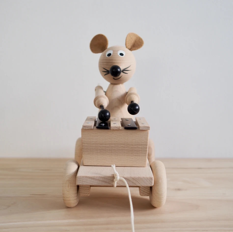 Edgar - Pull Along Wooden Mouse with Xylophone