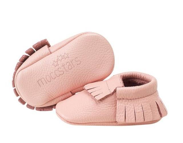 Moccstar - Leather Tassel Crib Shoe - Pink