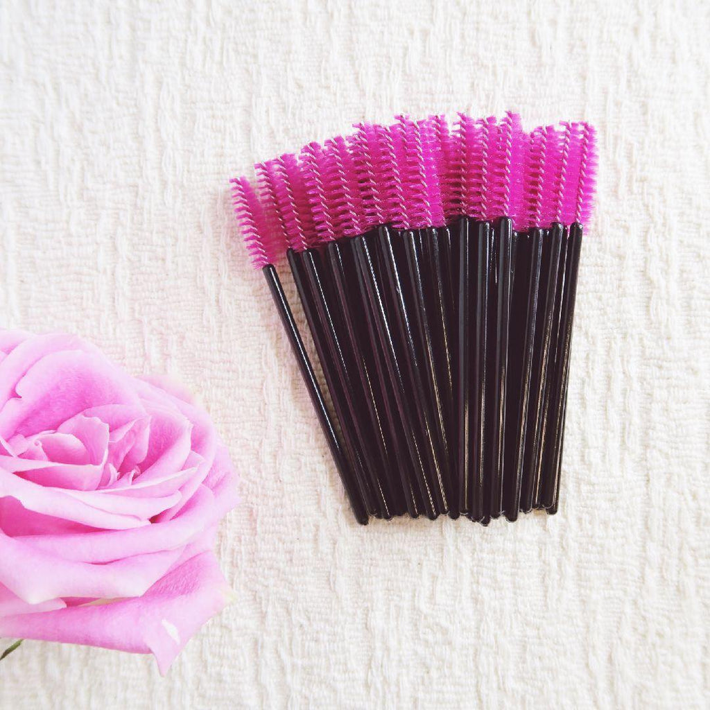 (50) Mascara Wands - Hot Pink