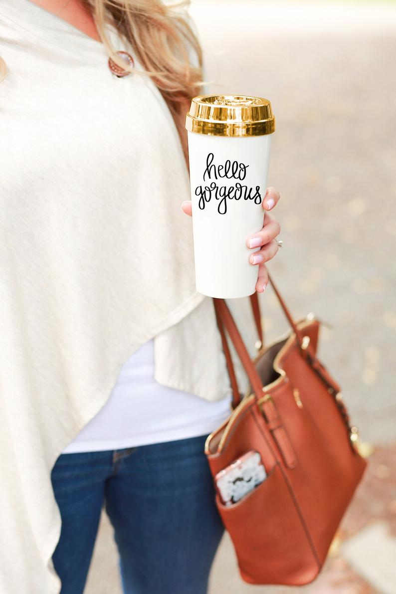 Hello Gorgeous Gold Travel Mug