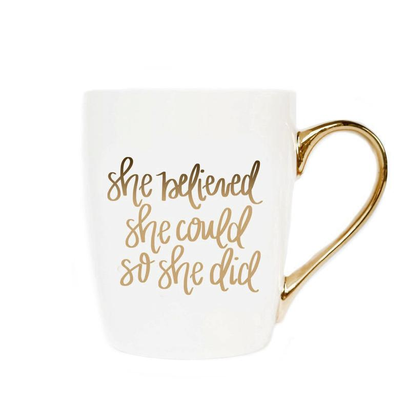 She Believed She Could So She Did Gold Coffee Mug