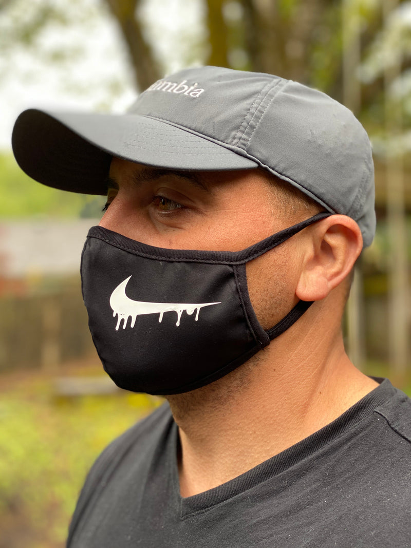 Washable & Reusable Mask - Nike Drip in the white