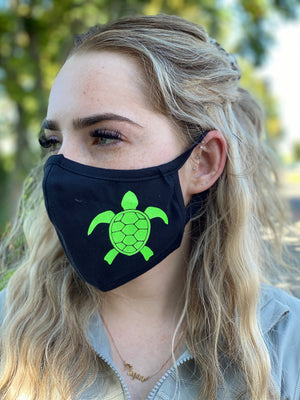 Mask - Sea Turtle (green glitter)