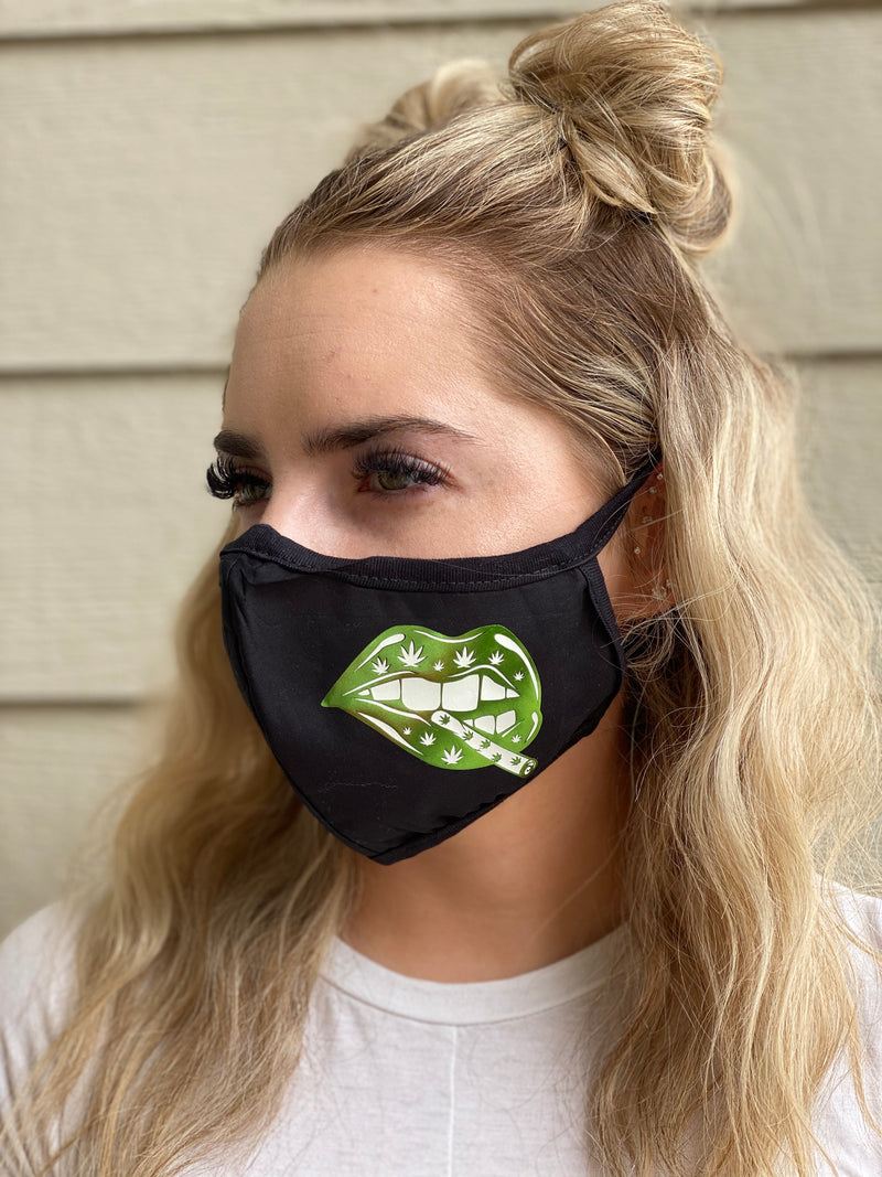 Mask - Weed lips (green foil)