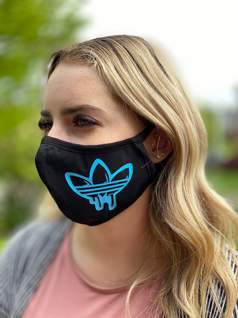 Washable & Reusable Mask - Baby Blue Adidas Drip