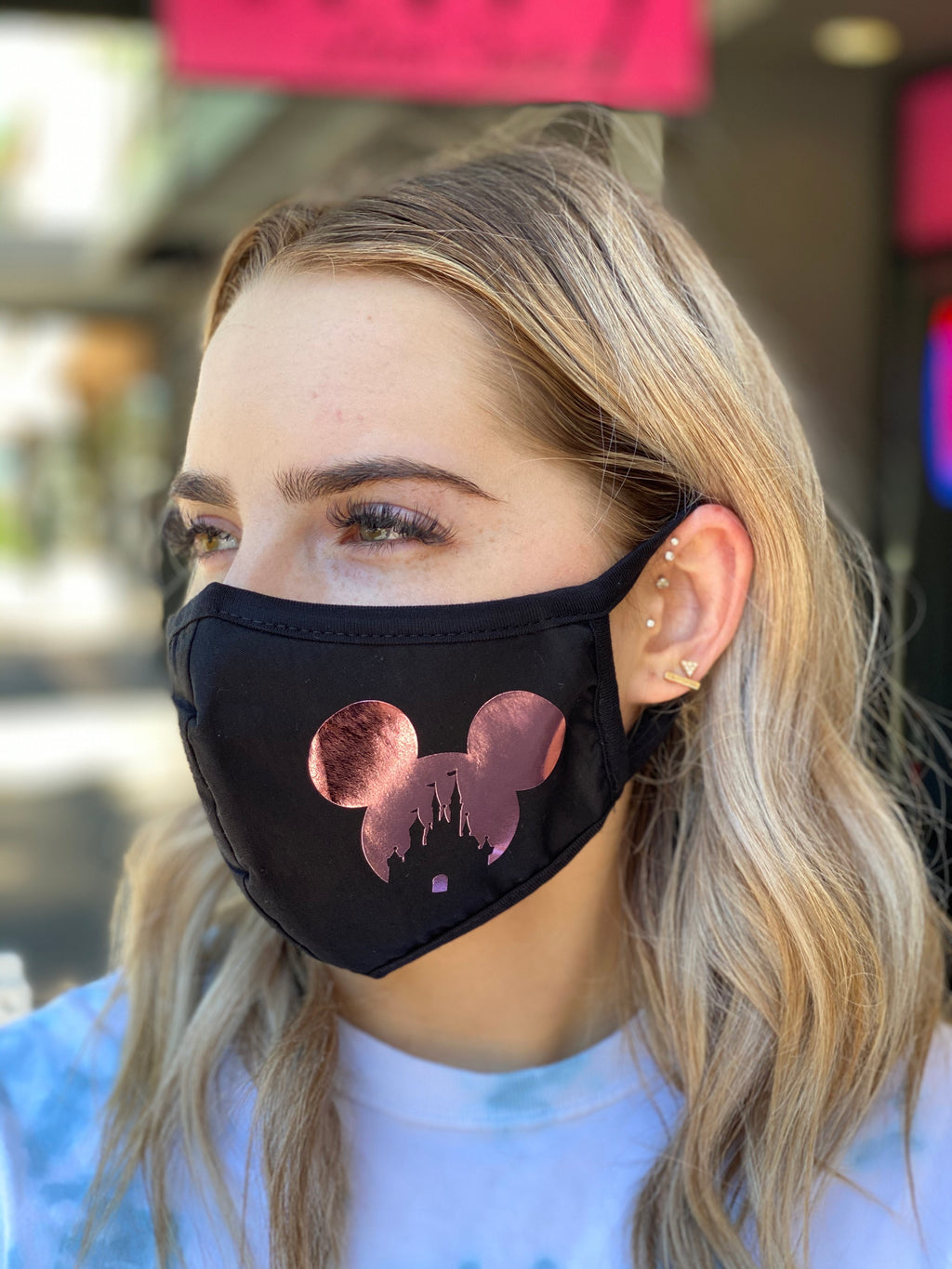 Washable & Reusable Mask - Mickey Castle Rose Gold Foil