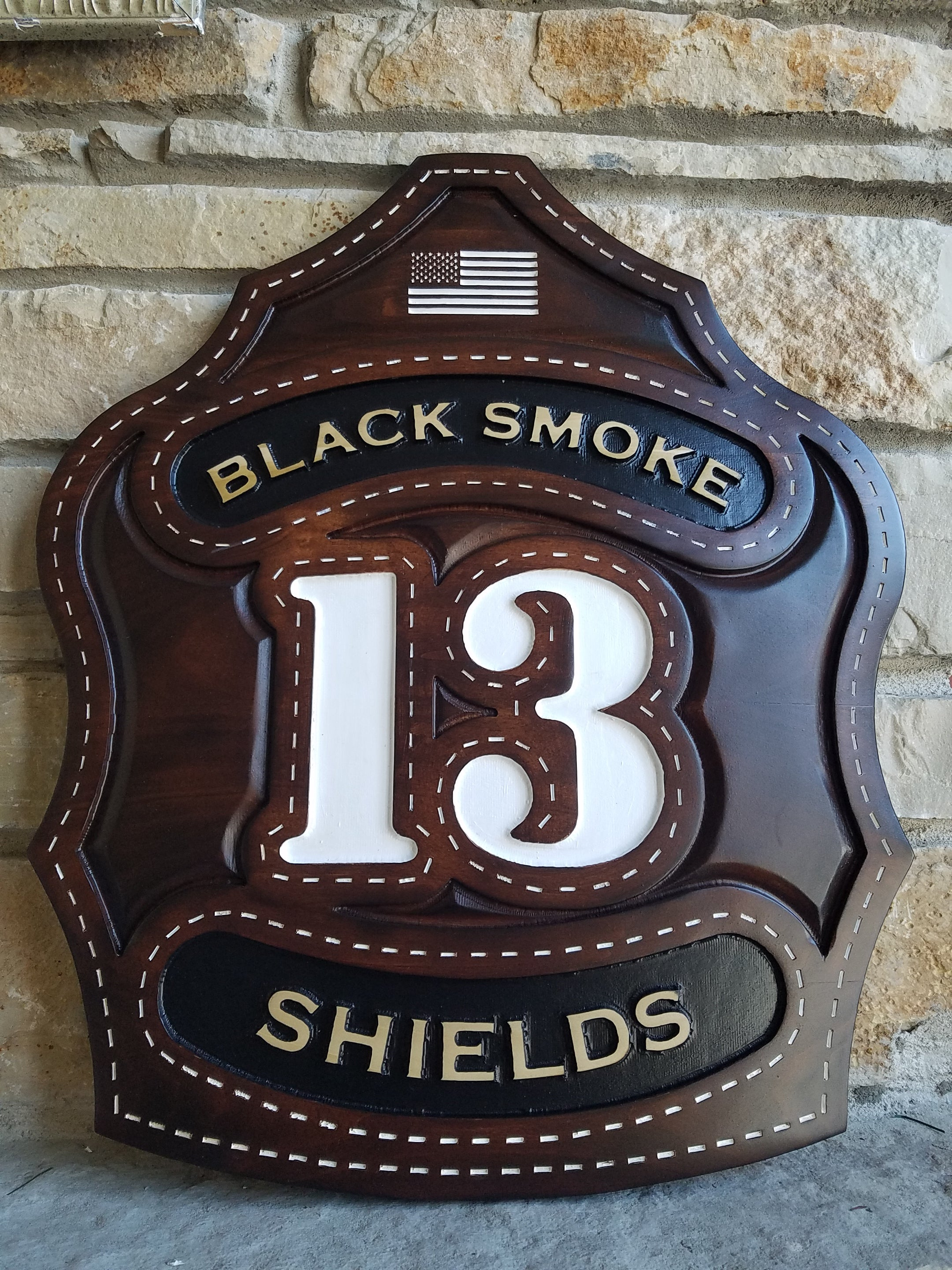 The Sculpted Leather Firefighter Shield Plaque