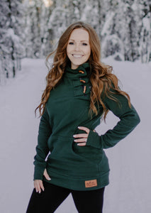 Fireweed Side Zip Toggle Hoodie (Hunter Green)