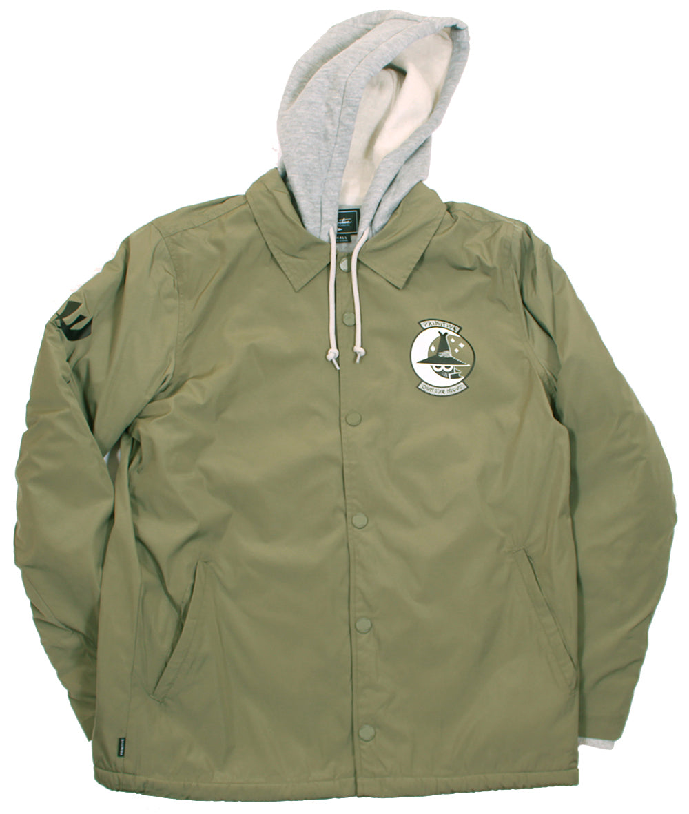 Primitive Skate Two Fer Coaches Jacket Hoodie Olive Streetwearthreads