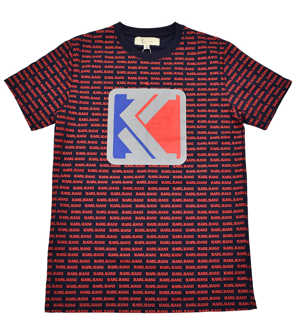 927ebf72725ca KARL KANI All-Over Logo T-Shirt Navy Red - streetwearthreads