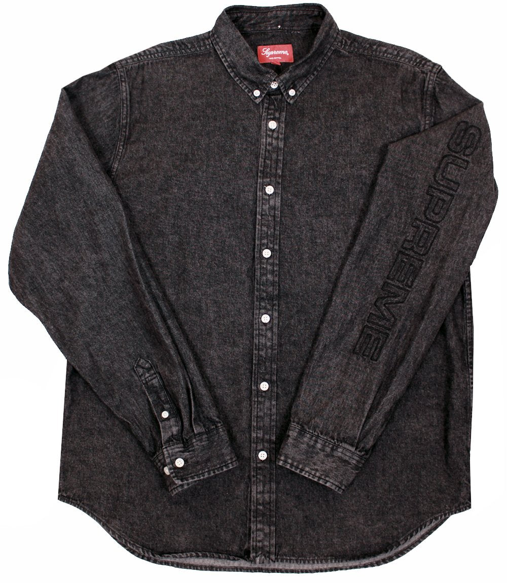 9a197f8d345 SUPREME Denim Button-Down Shirt Black - Public Enemy Drop SS18 ...