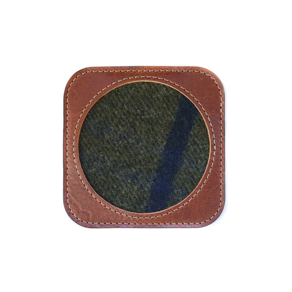 Faribault Woolen Mill X Leather Works Minnesota Coaster - Mahogany