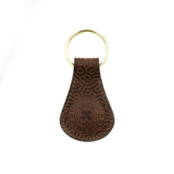 "Tear Drop Key Fob  -   ""Coral Pattern""  Mahogany"