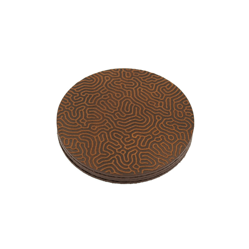 "Coaster Set - ""Coral Pattern"" Mahogany"