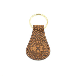 "Tear Drop Key Fob  -   ""Coral Pattern""  Saddle Tan"