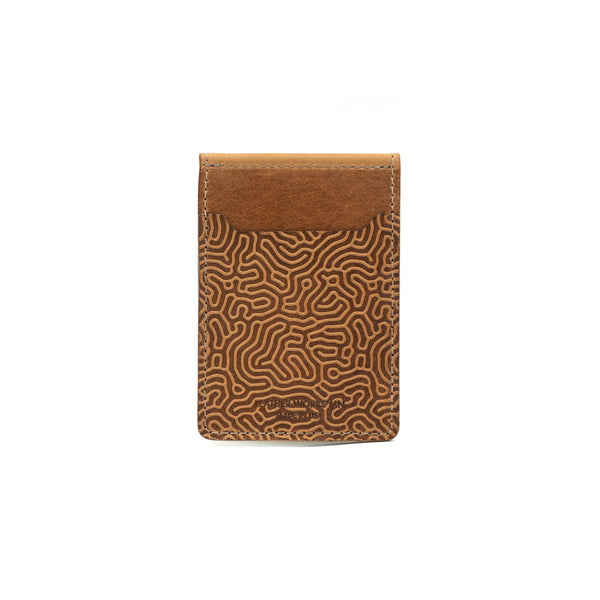 "Money Clip Wallet - ""Coral"" & Saddle Tan"