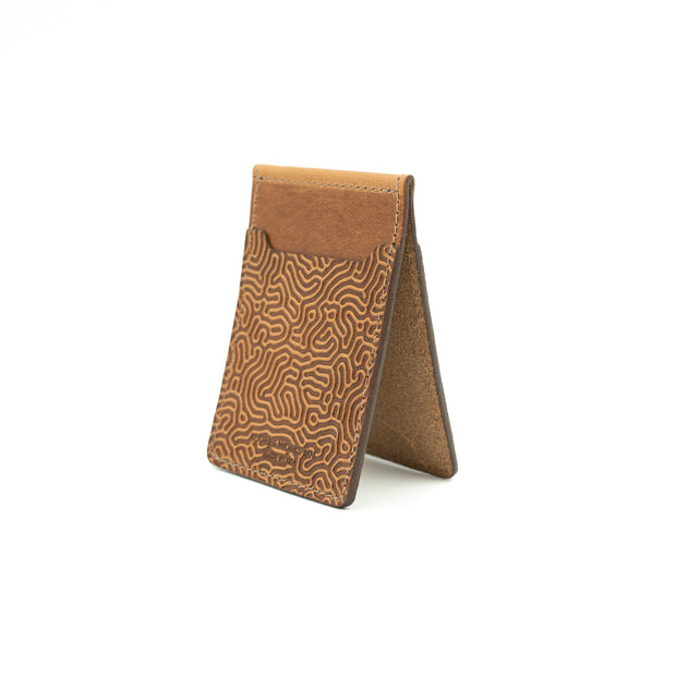 "Money Clip Wallet - ""Coral"" & Saddle Tan 1"