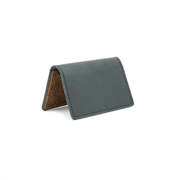 "Business Card Holder  - Black & ""Coral"" Saddle Tan"