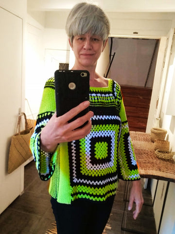 beverly smart hand crocheted granny sweater