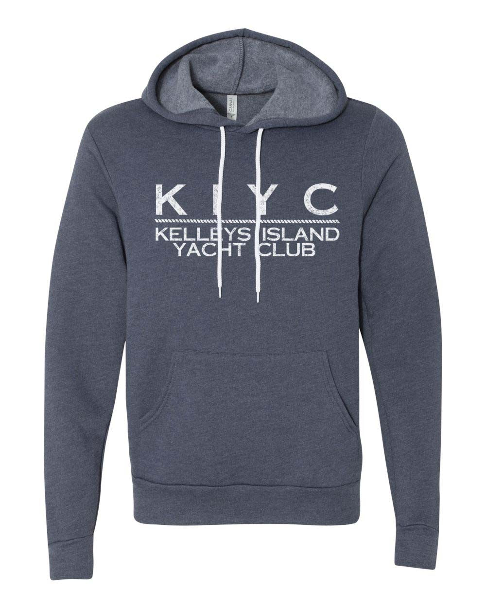 Modern KIYC Hoodie - White on Heather Navy (Unisex)