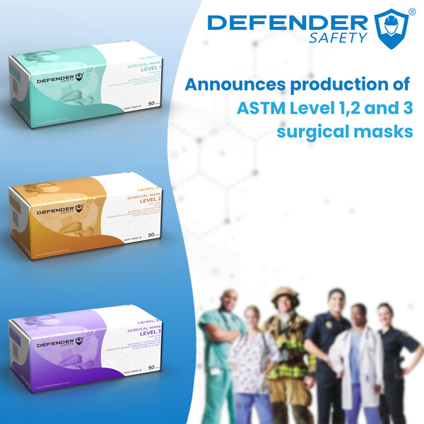 Defender Safety ASTM Level 1,2 and 3 Surgical Masks