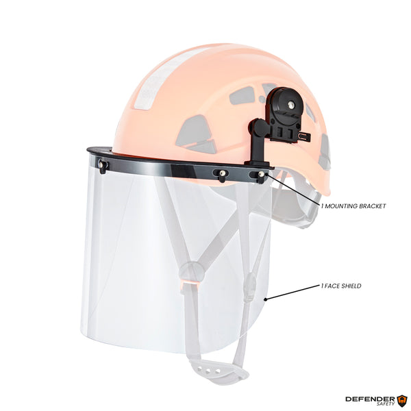 Defender Safety Face Shield and Mounting Bracket for Hard Hats (H1 Series) - Defender Safety Products