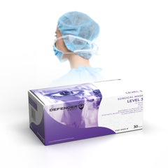 Defender Safety- DSM-SM03 ASTM Level 3 Surgical Mask Face Mask, Pleated,Tie-Back, Blue, 4 Ply - Defender Safety Products