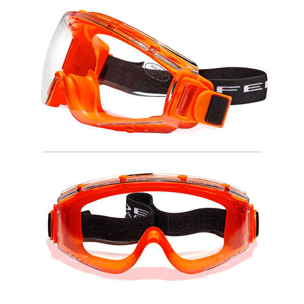 Defender Safety DVP2 Safety Goggles, Polycarbonate protective eyewear, Anti Scratch, Anti Fog, Impact Resistant ANSI Z87+ (Orange) - Defender Safety Products