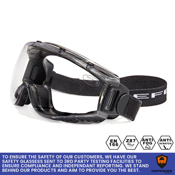Defender Safety DVP2 Safety Goggles, Polycarbonate protective eyewear, Anti Scratch, Anti Fog, Impact Resistant ANSI Z87+ (Black) - Defender Safety Products