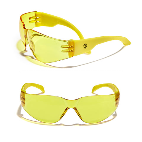 Defender Safety VS1 Safety Glasses, impact-resistant Anti Scratch, ANSI Z87 (Yellow Lens/Yellow Frame) 30PCS - Defender Safety Products
